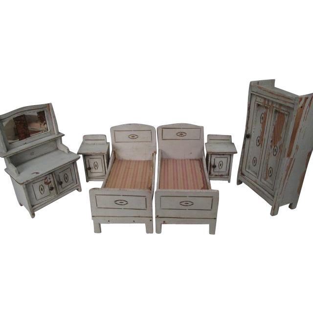 "Reserved for M - German Dollhouse Furniture - Gottschalk 6 Piece Bedroom Set - Large 1"" Scale"