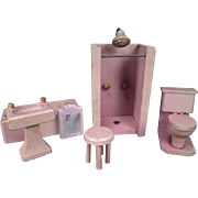 "Reserved - Vintage Wooden Dollhouse Furniture - Complete Schoenhut Bathroom and kitchen Sets from 1931 - 3/4"" Scale"