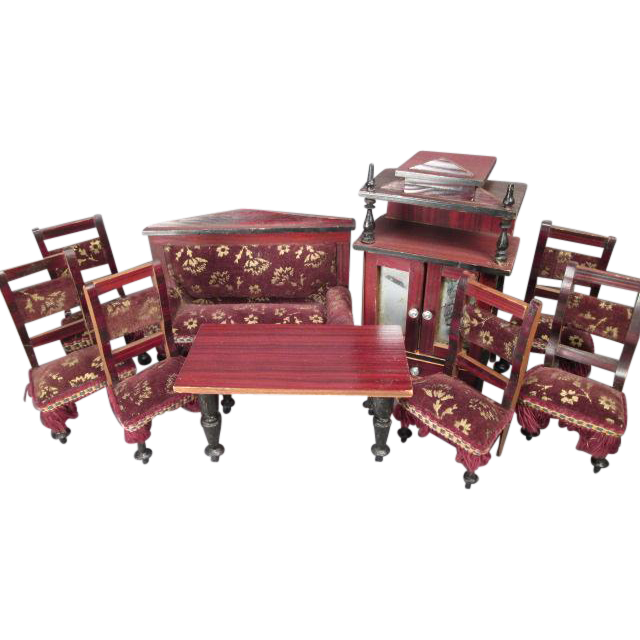 "Antique Kestner Dollhouse Furniture - 9 Piece Parlor Set with Faux Grain Finish and Velvet Upholstery - Made in Germany - 1"" Scale"