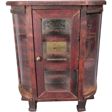 """Miniature German Dollhouse Furniture - Red Stain Bow Front Cabinet - 3/4"""" Scale"""