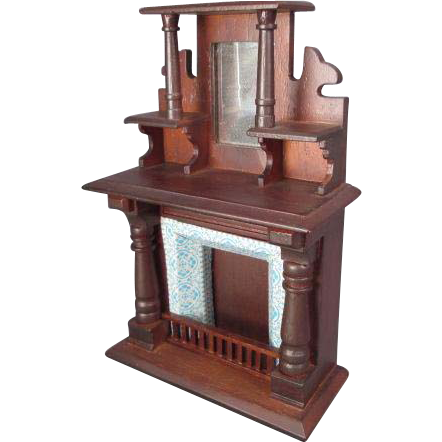 "Vintage Dollhouse Miniature Furniture - Block House Mahogany Fireplace Mantle - 1"" Scale"