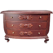 """On Layaway - Vintage Dollhouse Furniture - Block House for Bertha Casablanca - Queen Anne Bow Front Dresser Chest - 1"""" Scale"""
