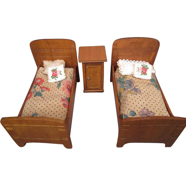 """German Dollhouse Bedroom Furniture - 2 Beds and Night Stand - 1"""" Scale"""