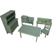 """German Dollhouse Kitchen Furniture - Step Back Cupboard, Table, Chair, Stove plus Strombecker Sink - Small 1"""" Scale"""