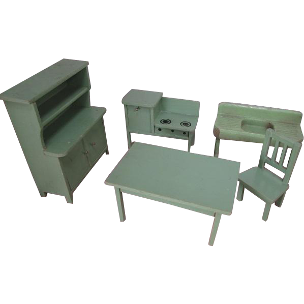 "German Dollhouse Kitchen Furniture - Step Back Cupboard, Table, Chair, Stove plus Strombecker Sink - Small 1"" Scale"