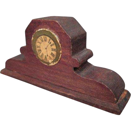 "German Dollhouse Accessory - Wooden Red Stain Mantle or Shelf Clock - 1"" Scale"
