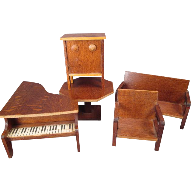"German Dollhouse Furniture - 5 Piece Parlor or Music Room Set - 1936 - 3/4"" Scale"
