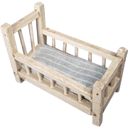 Vintage Dollhouse Nursery Furniture - Wooden Baby Crib or Youth Bed with Flannel Mattress