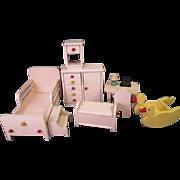 "Vintage Strombecker Dollhouse Furniture - Nursery or Child's Bedroom Set - 1"" Scale - 1938"