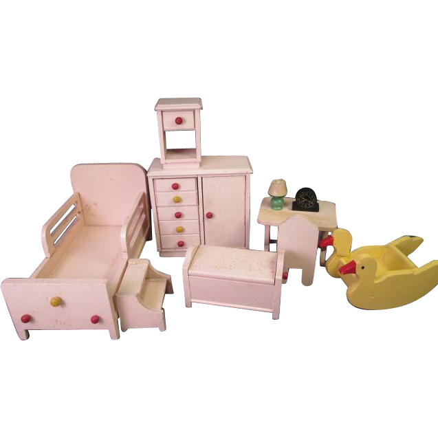 "Vintage Strombecker Dollhouse Furniture - Nursery or Child's Bedroom Set - 1"" Scale - 1950's"