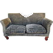 """Antique Dollhouse Furniture - Velvet Covered Sofa with Loose Pillows - Red Stain - 1"""" Scale"""