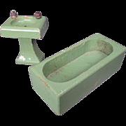 "Vintage Dollhouse Furniture - Schoenhut Green Bathroom Tub and Sink- 3/4"" Scale"