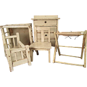 "German Dollhouse Furniture - 5 Piece Nursery with Crib, Playpen, Dresser, Bathinette, Chair - 1"" Scale"