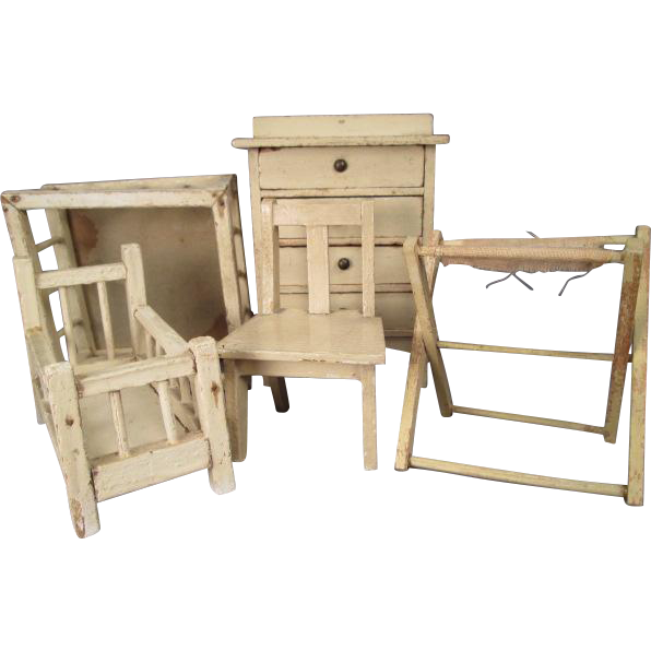 "German Dollhouse Furniture - 5 Piece Nursery with Crib, Playpen, Dresser, Bathinette, Chair - 1"" Scale"