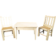 "German Dollhouse Furniture - Kitchen Table and 2 Chairs - 1"" Scale"
