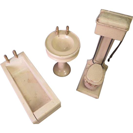 Vintage Wooden Dollhouse Furniture - 3 Piece Bathroom Set - Larger Size - Made in Germany