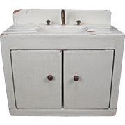 """Vintage Wooden Dollhouse Furniture - Kitchen Sink with Cabinets - 1"""" Scale"""