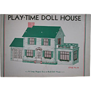 Warren Paper Products Co. Cardboard Built-Rite Play Time Doll House - Colonial Clapboard - Never Assembled