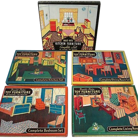 Warren Paper Products Co. Built-Rite Play Time Doll House Furniture - Complete Rooms in Original Box - Mint!