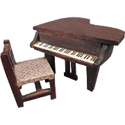 """Vintage Dollhouse Furniture - Red Stain Piano and Chair - 1/2"""" Scale"""