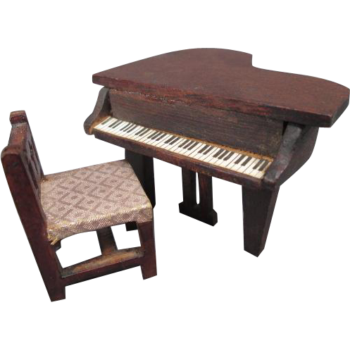 "Vintage Dollhouse Furniture - Red Stain Piano and Chair - 1/2"" Scale"