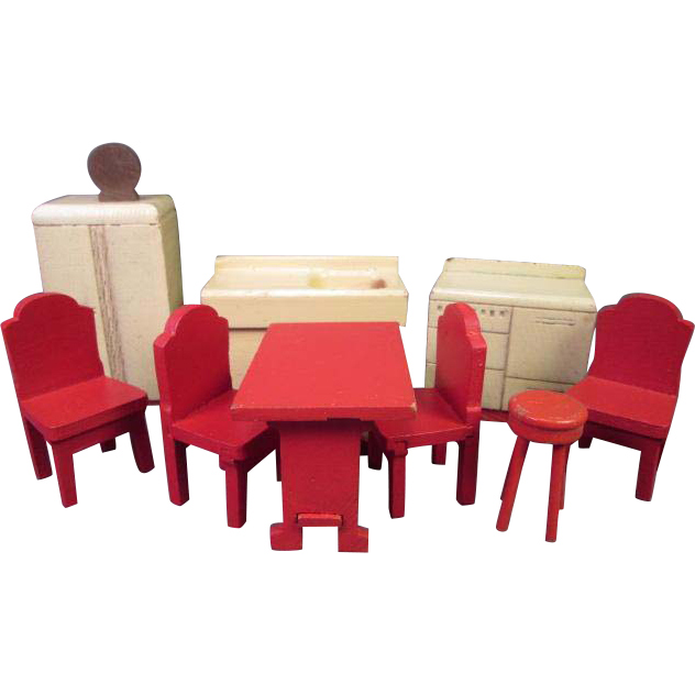 "Vintage Dollhouse Furniture - Strombecker Kitchen from 1938 - 3/4"" Scale"