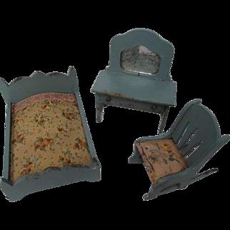"Vintage German Dollhouse Furniture - Bedroom Set in Blue - 1"" Scale"