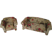 """Vintage Dollhouse Furniture - Overstuffed Sofa and Side Chair - Shabby Rose Upholstery - 1"""" Scale - Made in Germany"""