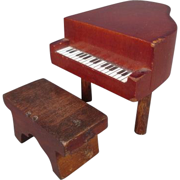 """Vintage Wooden Dollhouse Furniture - Kage Piano and Bench - 3/4"""" Scale"""