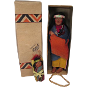 """Skookum Native American Indian Dolls - 9 1/2"""" Brave in Original Box and 3 3/4""""  Papoose Mailer - 1950's"""
