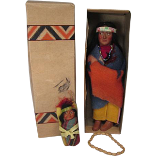 "Skookum Native American Indian Dolls - 9 1/2"" Brave in Original Box and 3 3/4""  Papoose Mailer - 1950's"