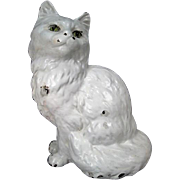 "Hubley Cast Iron Doorstop - Seated Persian Cat #302 - 9"" Tall"