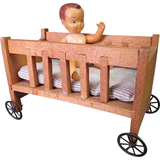 "German Dollhouse Furniture - Crib with Wheels - Large 1"" Scale"