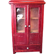 "Antique German Dollhouse Furniture - Schneegas Red Lacquer Wardrobe or Cupboard - Large 1"" Scale"