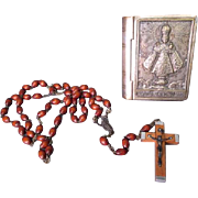 Miniature Silver Washed Rosary Box & Rosary - Infant of Prague