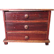 """Antique Dollhouse Furniture - Kestner Chest of Drawers with Faux Grain Finish - 1"""" Scale"""