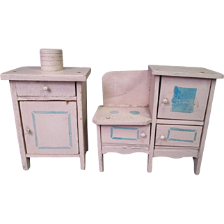 Wooden Dollhouse Furniture - Kitchen Stove and Refrigerator - 1920