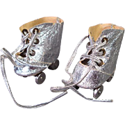 Vintage Doll Accessory - Silver Roller Skates for Tiny Terri Lee - mid 1950's
