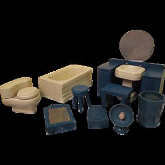 "Vintage Dollhouse Furniture - Complete 10 Piece Strombecker Bathroom Set 1938 - 3/4"" Scale"