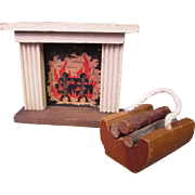 "Vintage Miniature Dollhouse Furniture - Kage Fireplace Mantle and Log Holder - 3/4"" Scale"