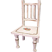 "Vintage Wooden Dollhouse Furniture - Gottschalk Straight Chair with Hand Painted Flowers - 1"" Scale"