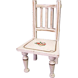 """Vintage Wooden Dollhouse Furniture - Gottschalk Straight Chair with Hand Painted Flowers - 1"""" Scale"""