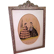 """Cast Gilt Brass Picture Frame with Godey Style French Fashion Print - 9"""" by 7"""""""