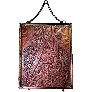Large Tri-Fold Vanity Mirror with Interesting Embossed Copper Cover - Early 20th Century
