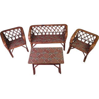 Vintage German Doll Furniture - Rattan and Willow Settee, 2 Chairs and Table - Larger Size