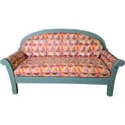 """Vintage Dollhouse Furniture - Art Deco Style Upholstered Sofa - 1"""" Scale"""