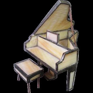 Miniature Piano - Leaded Slag Glass - Dollhouse or Display