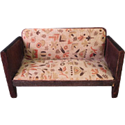 "Vintage Dollhouse Furniture - Art Deco Style Settee - 3/4"" Scale"