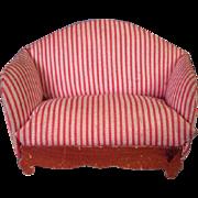 "Vintage Dollhouse Furniture - Kage Upholstered Sofa - 3/4"" Scale"
