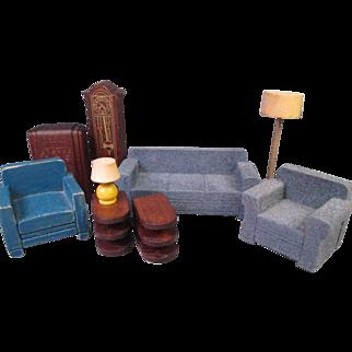 "Vintage Dollhouse Furniture - Strombecker Living Room - 3/4"" Scale"